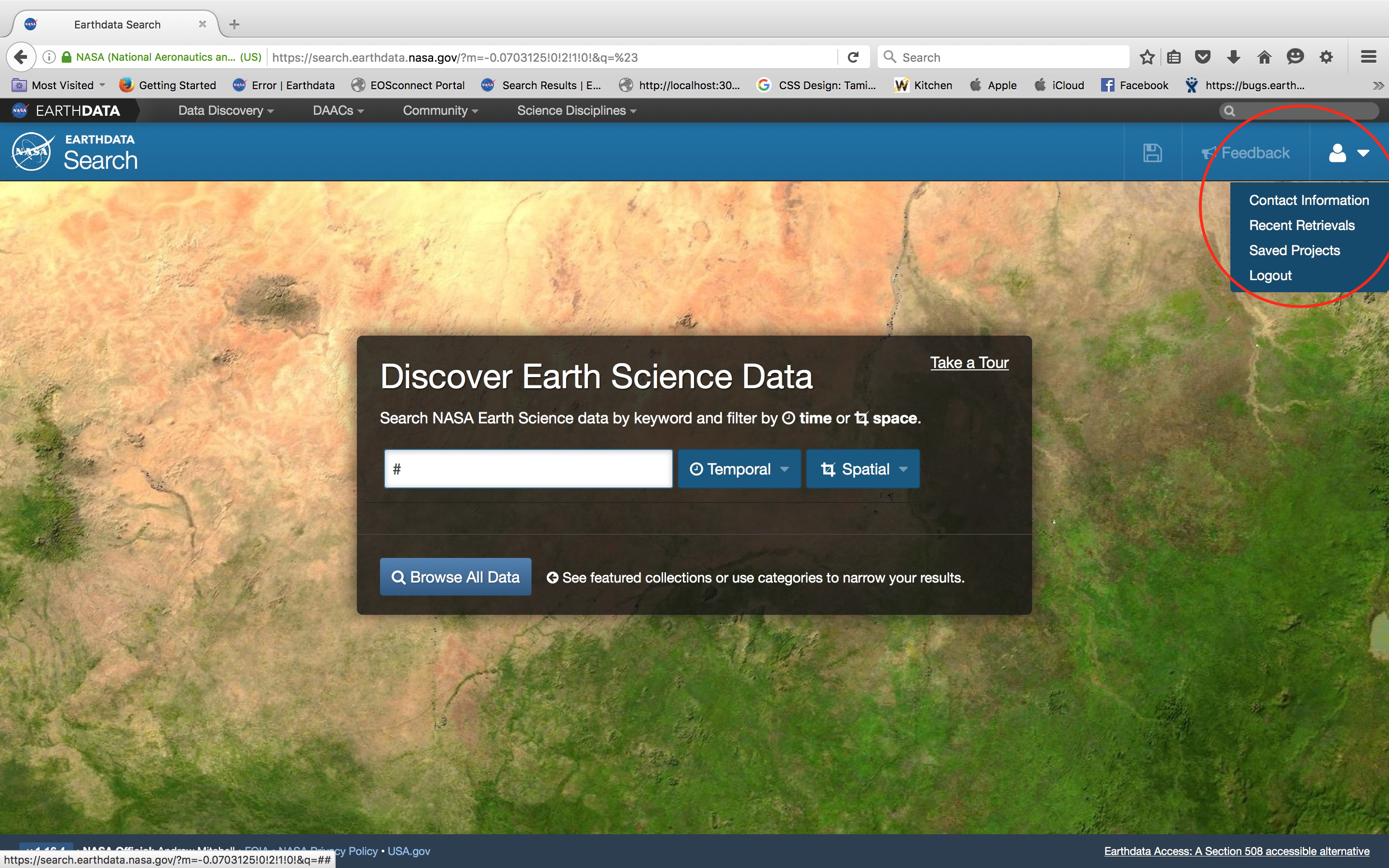 Earthdata Search website with the button in the upper right updated to view user profile