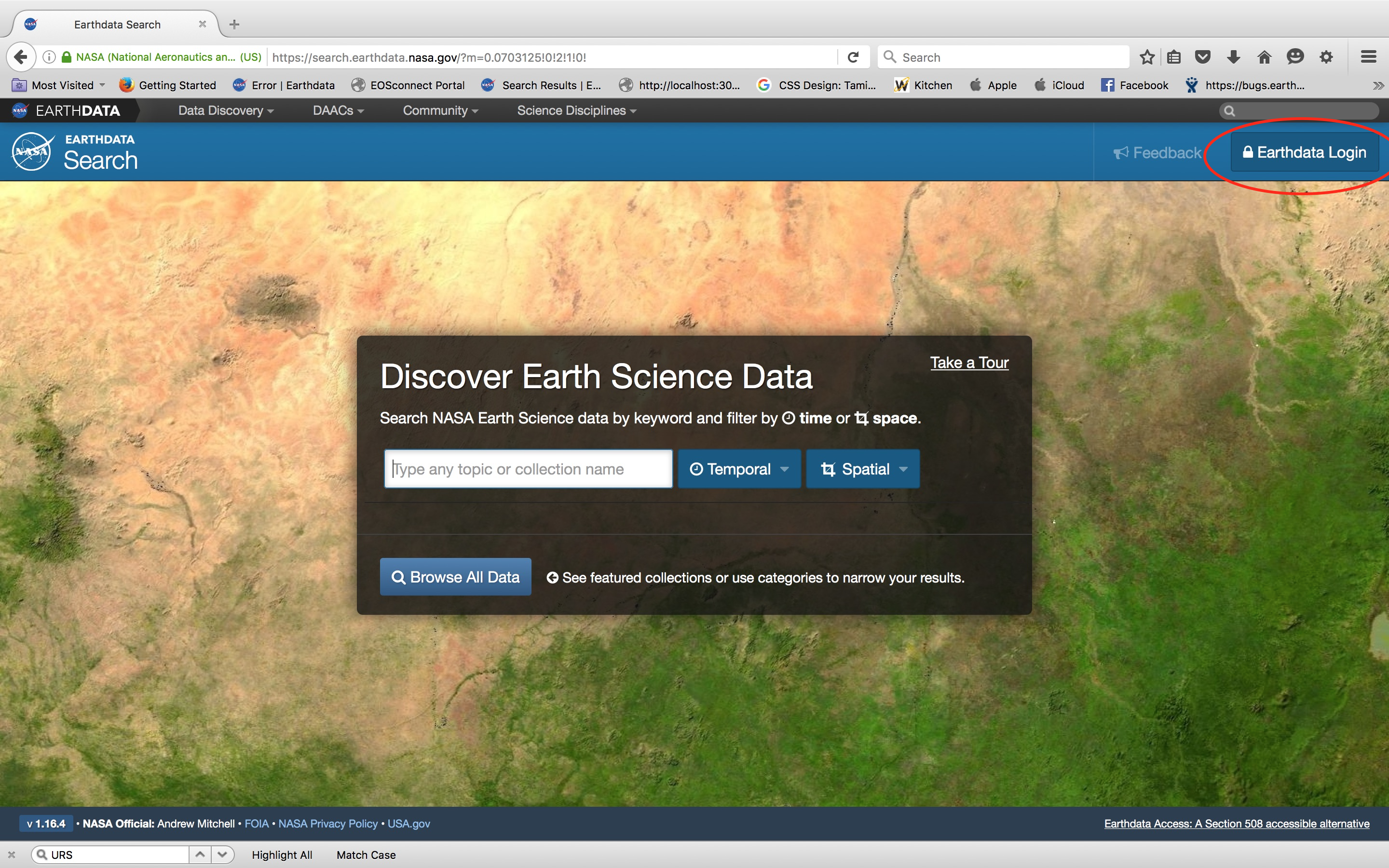 Earthdata Search website with the Earthdata Login button in the upper right circled in red